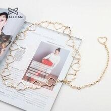 Женское модное платье с сердечками и цепочкой, серебряное, золотое, тонкие металлические ремни длиной 110 см, дизайнерские цепочки с бахромой 137