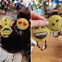 KVJE Cartoon Expression Crystal Fashion Hoops 2019 New Product Hair Rubber Band Barette Woman Accesories Haar