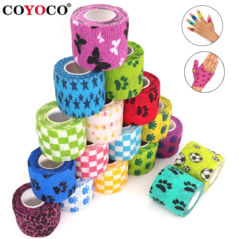 1-pcs-printed-medical-self-adhesive-elastic-bandage-45m-colorful-sports-wrap-tape-for-finger-joint-knee-first-aid-kit-pet-tape