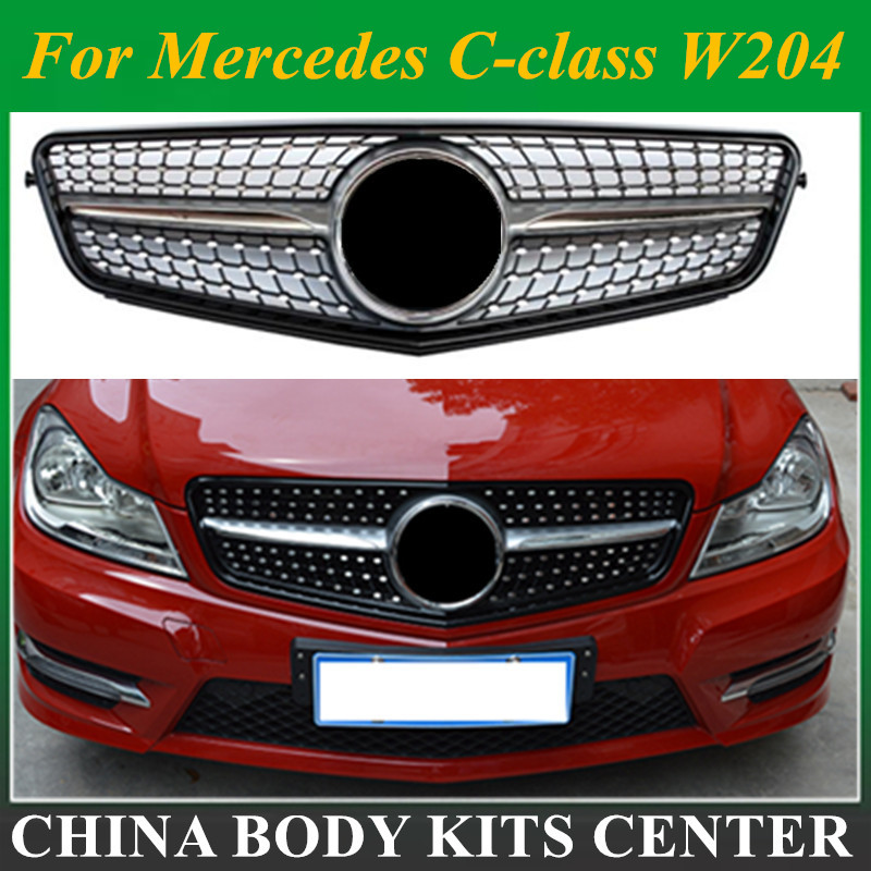 suitable for <font><b>mercedes</b></font> c-class w204 c180 c200 <font><b>c300</b></font> c250 c350 2008 merc 2008-2014 C63 Diamond grille with center logo image