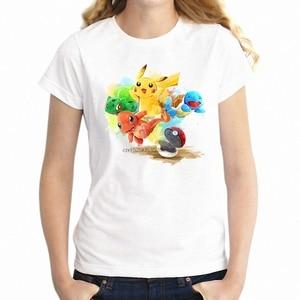 Women T Shirt Cute pok mon Ash picachu Squartle Charizard Gamer Girl Tee Short Sleeve Tee Shirt Free Shipping cheap wholesal(China)