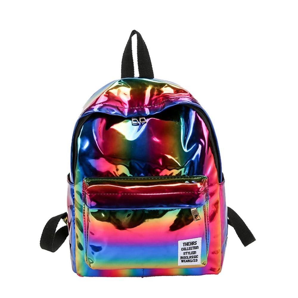 2019 New Hologram Laser Backpack Girl School Bag Shoulder Women Girl Rainbow Colorful Metallic Silver Laser Holographic Backpack