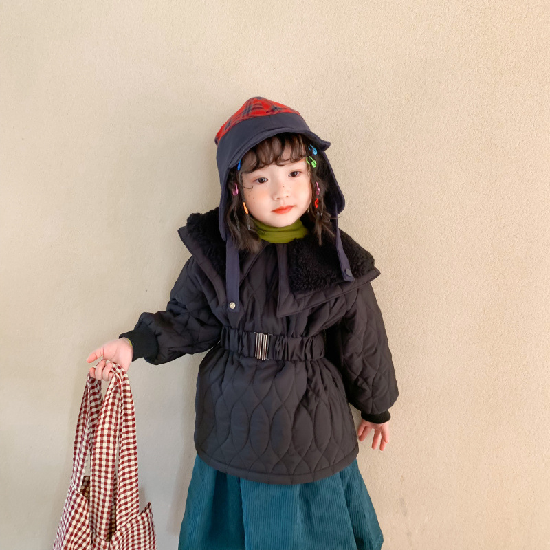 29.84US $  Autumn and Winter New Arrival girl's jacket cotton thickened long coat with big fur colla...
