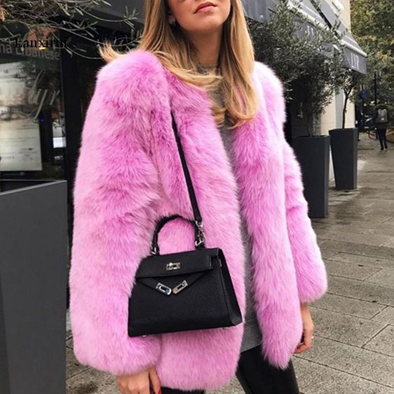 6 Colors Faux Fur Coat Warm Long Sleeve Women Sexy Celebrity Elegant Christmas Nightclub Evening Party Lady Coat Wholesale