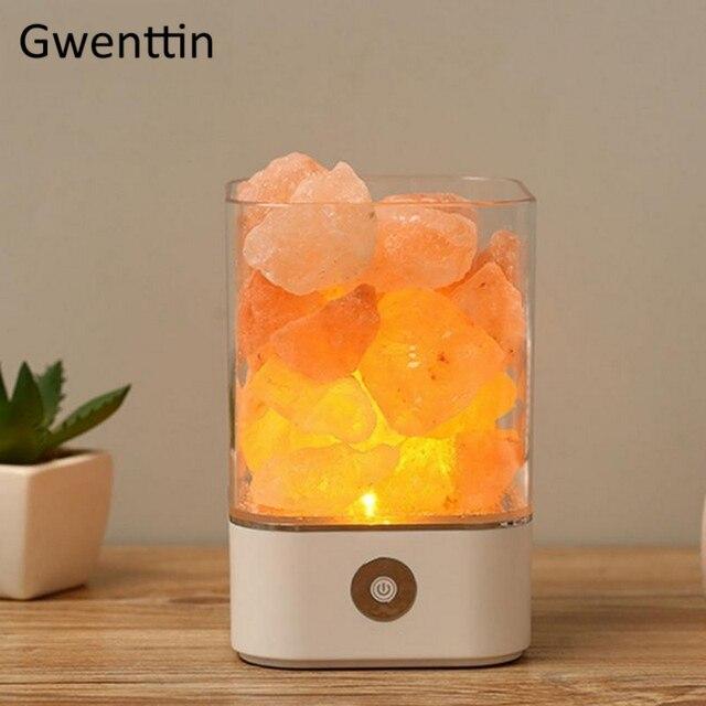 Lâmpada de sal do hálito natural cristal, usb, led, luz noturna, para mesa, lâmpadas de lava para o quarto, lateral da cama, decoração da casa