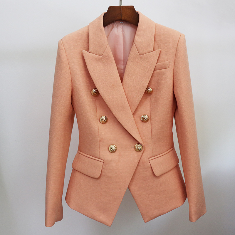 2020 new autumn and winter women's temperament office blazer Casual metal double-breasted classic ladies small suit jacket