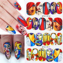 1pcs Water Nail Decal and Sticker Girls Abstract Face Geometry Winter Slider for Manicure Nail Art Watermark Tips LESTZ906-921(China)