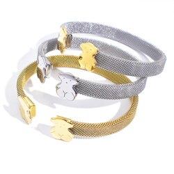 Pulseira de urso feminina, joias de liga metálica com pingentes de urso para mulheres, bracelete de personalidade