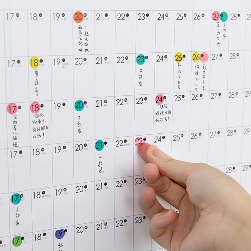 2020 Yearly Calendar Year Planner Memo Annual Schedule Daily With Sticker Dots J6PA