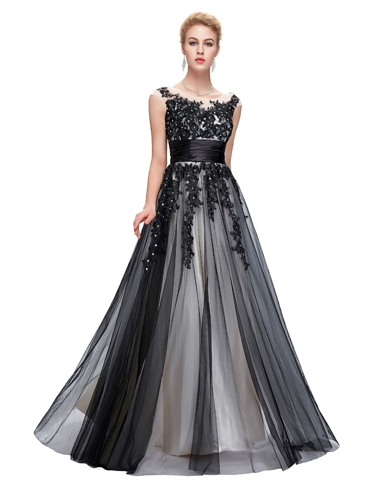 Evening-Dress Party-Gowns Robe-De-Soiree Sequin Sheer-Neck Wedding Formal Appliques Sleeveless
