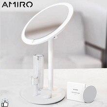 AMIRO HD дневное перезаряжаемое регулируемое зеркало для макияжа 60 градусов вращающееся столешница косметические зеркала