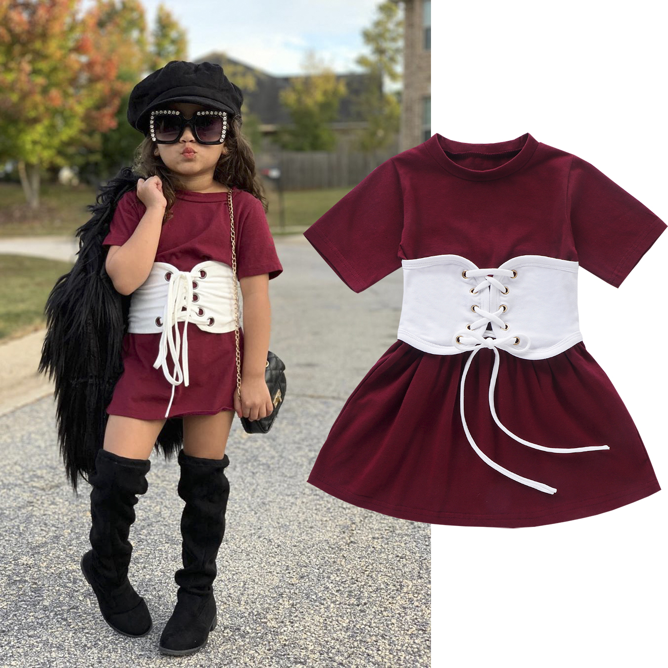 1-6Y Toddler Baby Girls Dress+Belt 2pcs Solid Short Sleeve Knee Length A-Line Dress Fashion Outfits