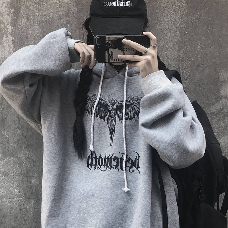 2020 NiceMix Devil Letter Print Women Fleece Hooded Sweatshirts Casual Loose Pocket Female Hoodies Top Spring Autumn Winter Lady