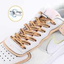 Shoelaces-Lock Capsule Lazy-Laces Letter Elastic Round Metal Flat 1-Pair All-24-Colors