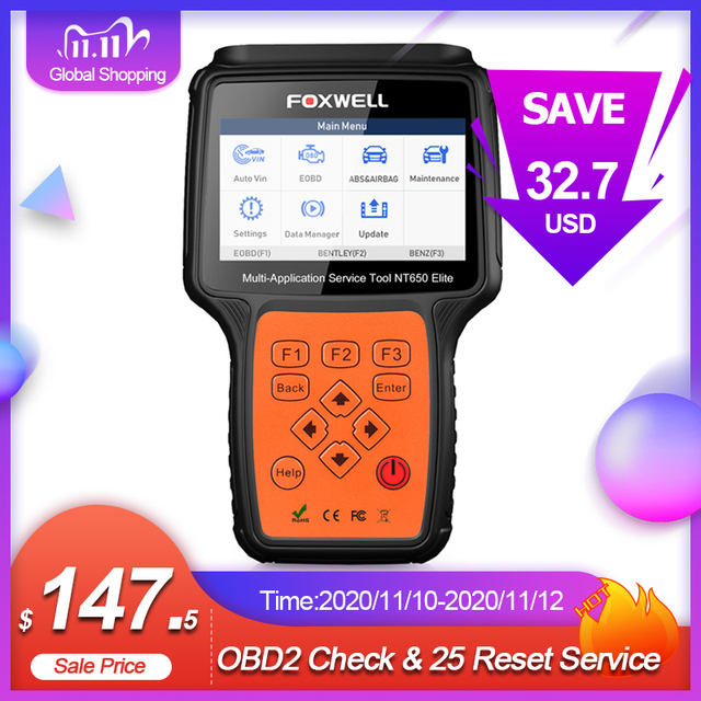 FOXWELL NT650 Elite OBD2 Automotive Scanner ABS SRS DPF Oil Reset Code Reader Professional OBD Car Diagnostic Tool OBD2 Scanner