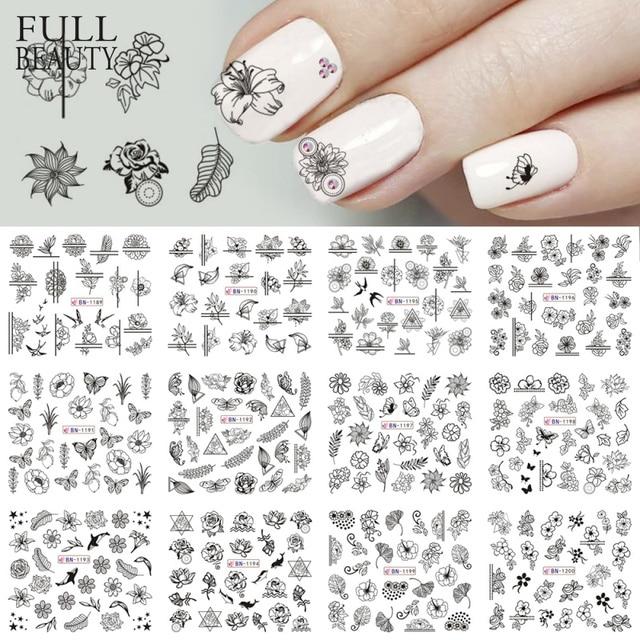 12 Type Black Flower Decals Nail Art Water Transfer Sticker DIY Floral Slider Wraps Nail Paper Decor Manicure CHBN1189 1200 1