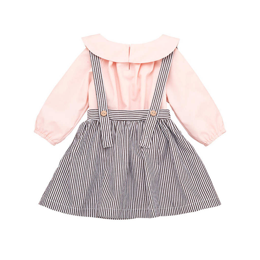 Baby Girls Infant Toddler Kids Clothes Stripe Princess Casual Outfits Dress CC