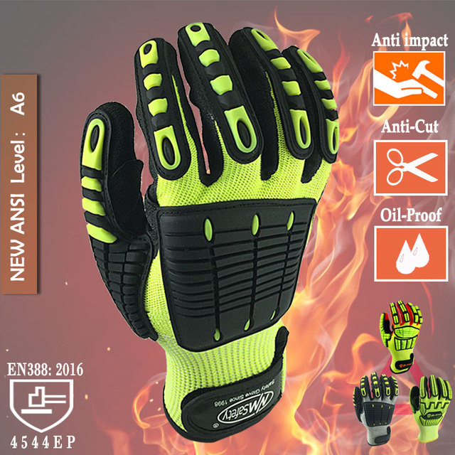 Cut Resistant Safety Work Glove Anti Vibration Anti Impact Oil proof Protective With Nitrile Dipped Palm Glove for Working