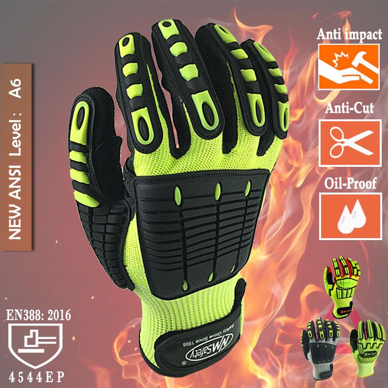 Устойчивые к порезам защитные рабочие перчатки антивибрационные противоударные маслостойкие защитные перчатки с нитриловым покрытием дл...