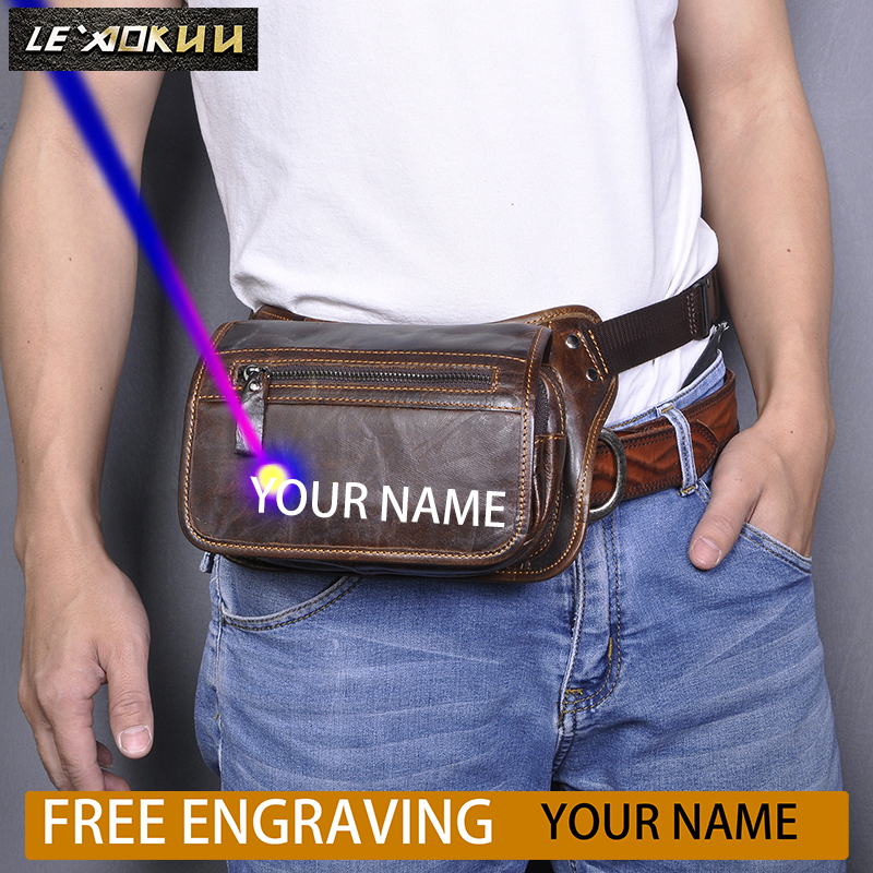 New Quality Leather Men Casual Fashion Travel Fanny Waist Belt Bag Sling Chest Pack Design 6