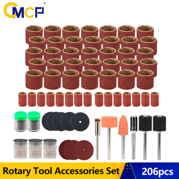 CMCP Rotary Tool Accessories Set 206pcs Drum Sander Set With Sanding Mandrels For Dremel Grinding Polishing Tool rijilei 136pcs dremel rotary tool accessory attachment set kits grinding sanding polishing sander abrasive for grinder