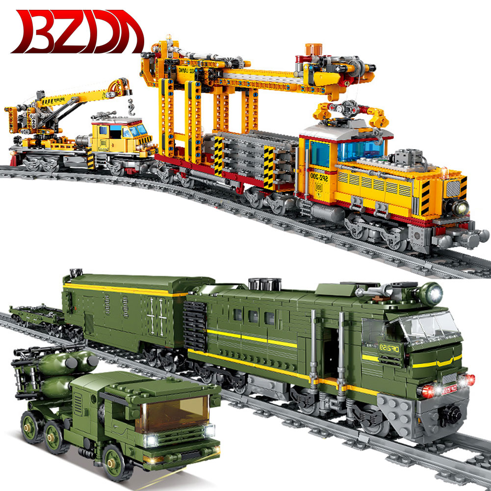 Конструктор Военный Электрический поезд BZDA, Высокоскоростная Модель железнодорожного поезда, кирпичи, пуленепробиваемая железная дорога, ...