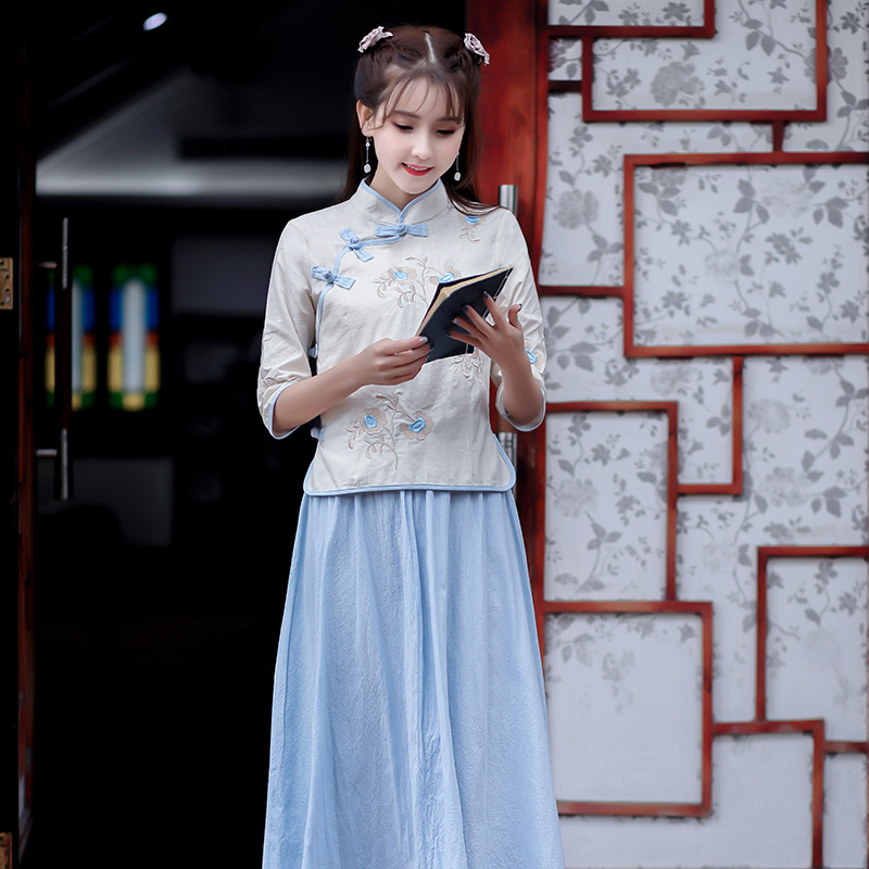 2019 Spring New Style Ethnic-Style Cotton Linen WOMEN'S Dress Literature And Art Retro Stand Collar Embroider Jacket + Skirt Set