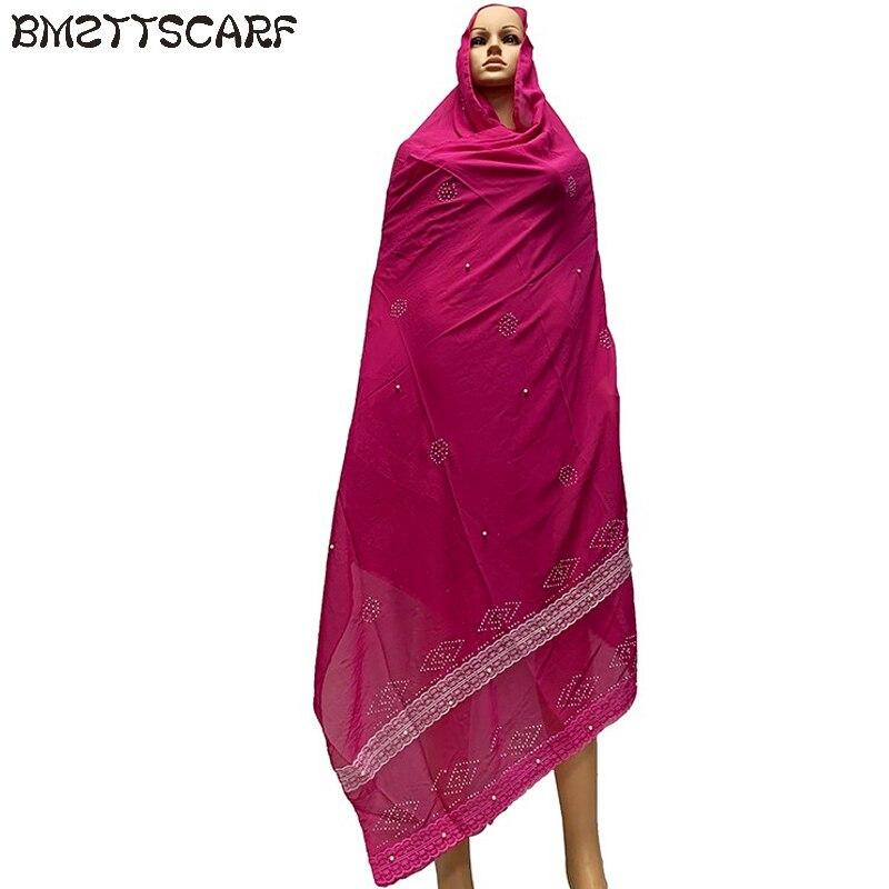 African Women Scarf Big Size Long Shawls Scarf Chiffon Soft Scarfs With Lace Embroidery BM790