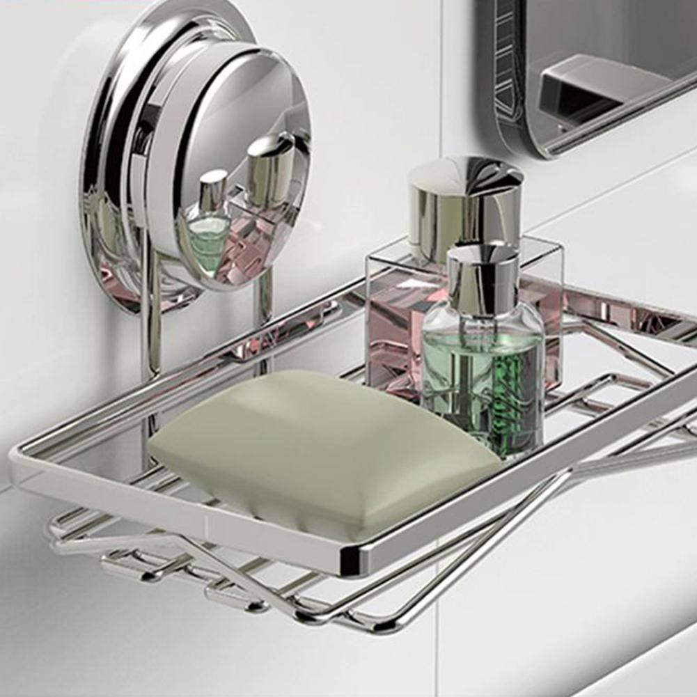 Bathroom Soap Holder Creative Kitchen Bath Shower Plate Box Stainless Steel Wall Shelves Storage Soap Suction Cup Basket