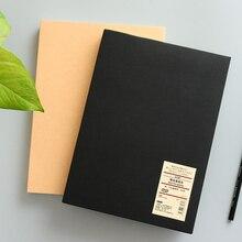 Cuaderno de bocetos de tapa dura Kraft 16k, Color sólido Simple, cuaderno pintado a mano, Bloc de notas pintado con papel de tarjeta negro
