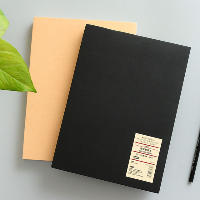 Simple Solid Color Kraft 16k Hardcover Sketch Book Hand painted Notebook Black Card Paper Painted Notepad