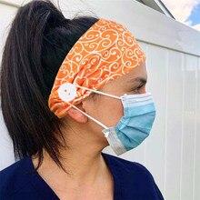 2020 nova moda doce cor impressão feminino headbands stretch turbante headwear esportes fitas de cabelo com botões acessórios para o cabelo