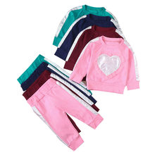 Spring autumn sports children's long-sleeved love frill sweater trousers suit 2PCS Baby Girls Heart Tops Pants Outfits L1213(China)