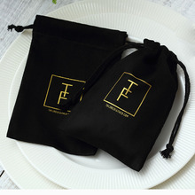 100 Zwart Flanel Sieraden Gift Bags Gepersonaliseerde Logo Sieraden Verpakking Chic Trekkoord Zakjes Voor Wedding Party Decoratie
