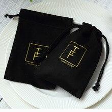 100 schwarz Flanell Schmuck Geschenk Taschen Personalisierte Logo Schmuck Verpackung Chic Kordelzug Beutel für Hochzeit Party Dekoration