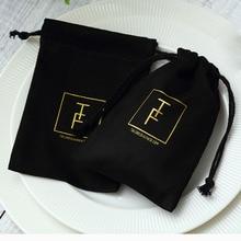 100 siyah pazen takı hediye keseleri kişiselleştirilmiş Logo takı ambalaj şık İpli torbalar düğün parti dekorasyon için
