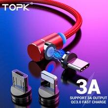 Магнитный usb-кабель TOPK 3A для быстрой зарядки, кабель USB type-C для iPhone, samsung, Xiaomi, huawei, кабель Micro usb типа L
