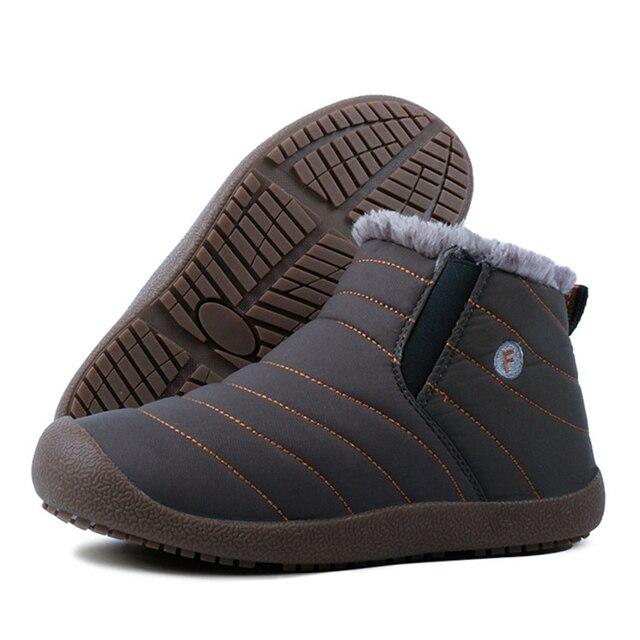 2019 Fashion Winter Men Boots Waterproof Comfortable Snow Boots Fur Warm winter Ankle Shoes Men Footwear Male Lightweight 1
