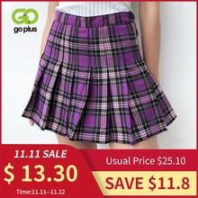 плиссированная юбка плиссе в клетку с высокой талией миниюбка юбка школьная большой размерженская юбки для женщин женская одеждаЮбки    АлиЭкспресс