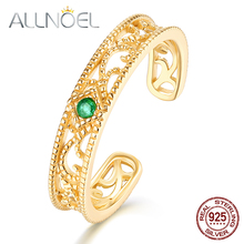 ALLNOEL 925 Sterling Silver Vintage Emerald Ring  Unique Design Real Gold-plated Wedding Engagement Stackable Luxury Ring New