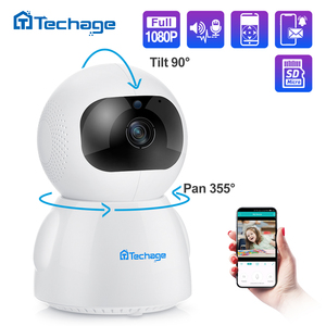 Image 1 - Techage 1080P bezprzewodowa kamera IP niania elektroniczna Baby Monitor 2MP kopułkowa wideo CCTV nadzoru dwukierunkowe Audio bezpieczeństwo w domu kamera Wifi