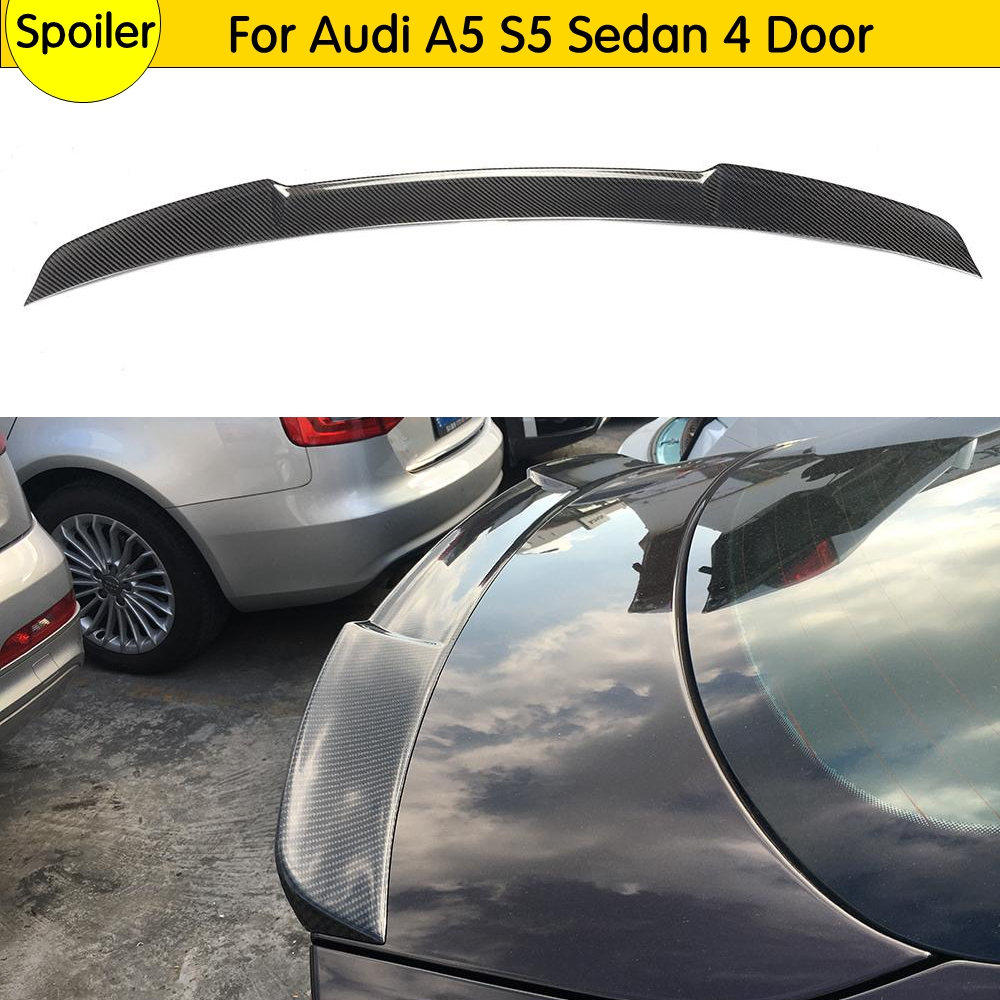 Carbon Fiber Auto Racing Belakang Trunk Spoiler Lip Wing Car Styling untuk Audi A5 S5 Sline RS5 Sedan 4-Door 2012-2015