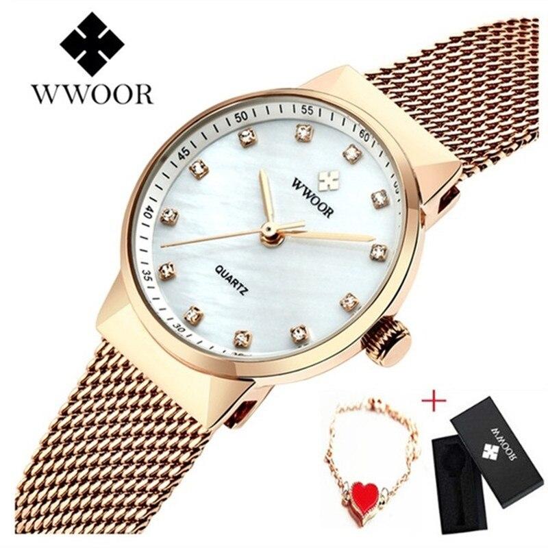 WWOOR Women Watches Bracelet Ladies Rose Gold Watch Women Stainless Steel Quartz Watch Waterproof Female Wristwatch Bayan Saat