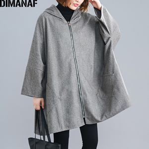 Image 4 - DIMANAF Oversize Women Jacket Coat Autumn Winter Outerwear Zipper Cardigan Vintage Batwing Sleeve Loose Plus Size Hooded Clothes