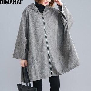 Image 4 - DIMANAF chaqueta de gran tamaño para mujer abrigo Otoño Invierno ropa de abrigo con cremallera Rebeca Vintage manga de murciélago suelta talla grande ropa con capucha