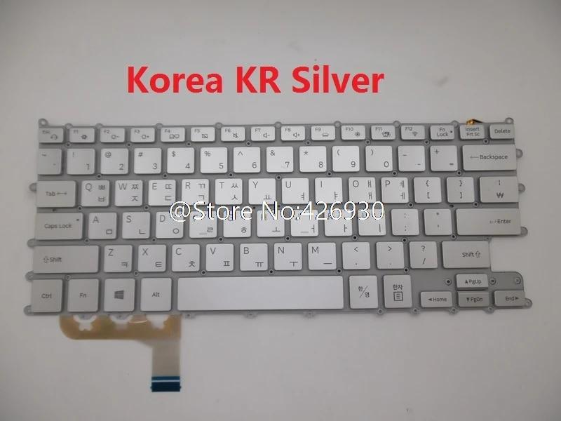 Laptop Keyboard for Samsung NP930QAA NT930QAA 930QAA Korea KR Backlit Silver New