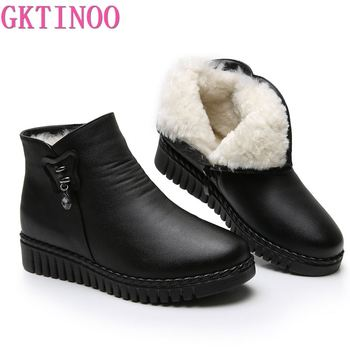 GKTINOO 2020 Women Snow Boots Winter Flat Heels Ankle Boots Women Warm Platform Shoes Leather Thick Fur Booties