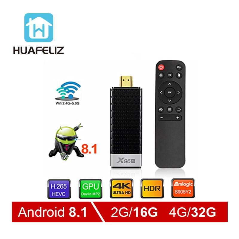 X96S Smart films & tv box Android 9.0 Quad Core Amlogic S905Y2 Wifi 4GB 32GB Bluetooth 4.2 4K HD Smart TV Stick PK H96 Tv Stick