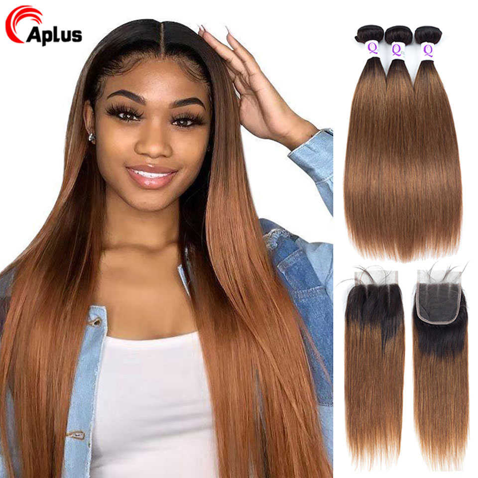 Buy 3 Bundles Get One Free Closure Aplus Ombre Bundles With Closure T1b 30 Remy Malaysian Straight Hair Bundles With Closure