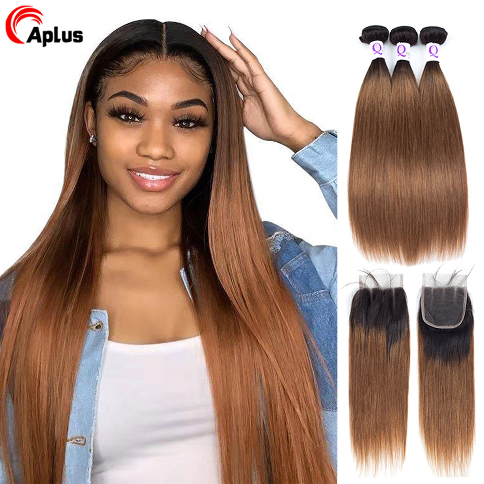 Buy 3 Bundles Get One Free Closure Aplus Ombre Bundles With Closure T1b 30 Non-Remy Malaysian Straight Hair Bundles With Closure